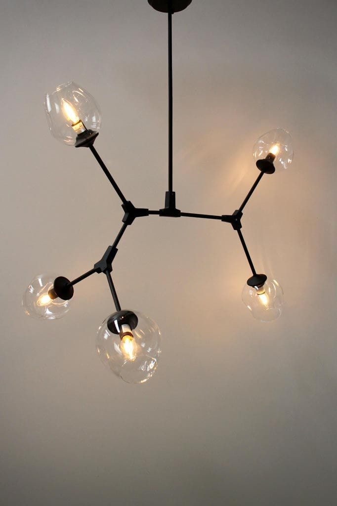 Five light dimpled glass chandelier