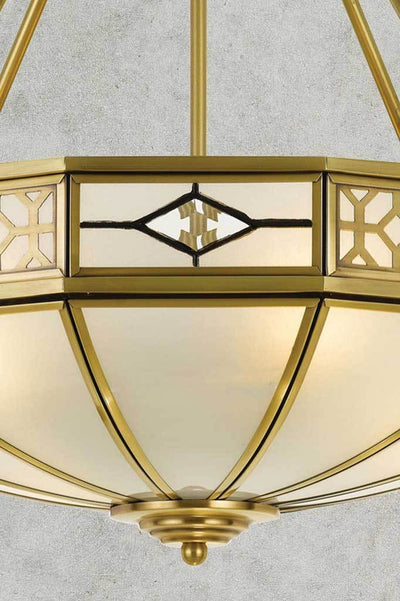 Frosted glass shade with traditional art deco design