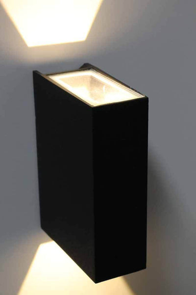 Garden wall light. outdoor entertaining area decor. black square front facade light
