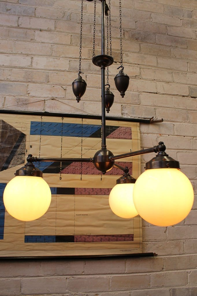 Glass Ball Chandelier Pulley Light