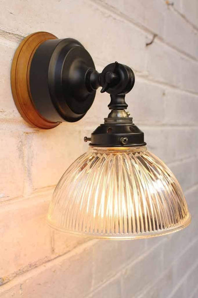 Glass batten wall light with holophane pressed glass shade
