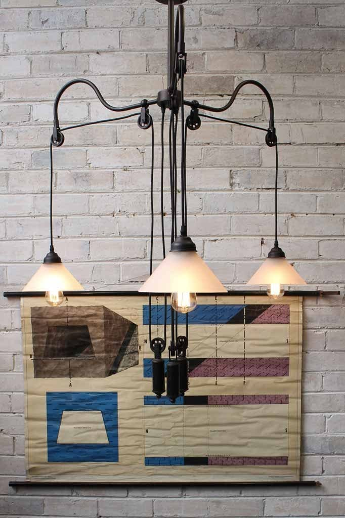 Glass chandelier pulley light has 3 arms and glass shades. ideal for over table lighting dining room pendant light