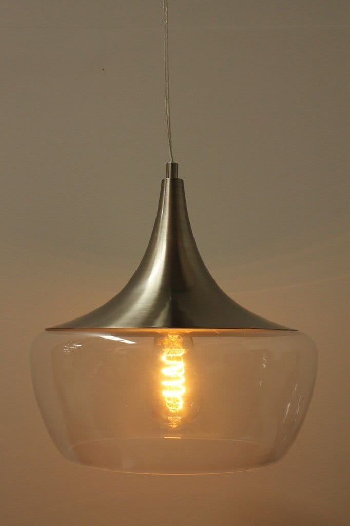 Drop Pendant Light Clear Champagne Or Smoked Tint Glass Fat Shack Vintage