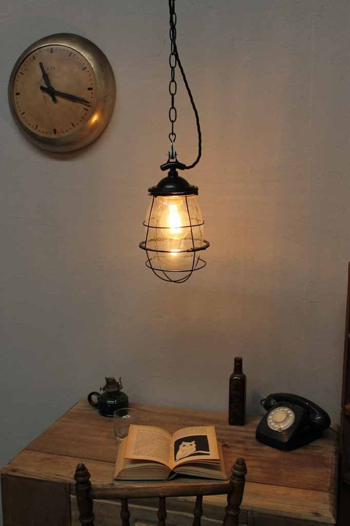 Engine Room Hanging Light Drop Shaped Glass Pendant Light With Chain Fat Shack Vintage