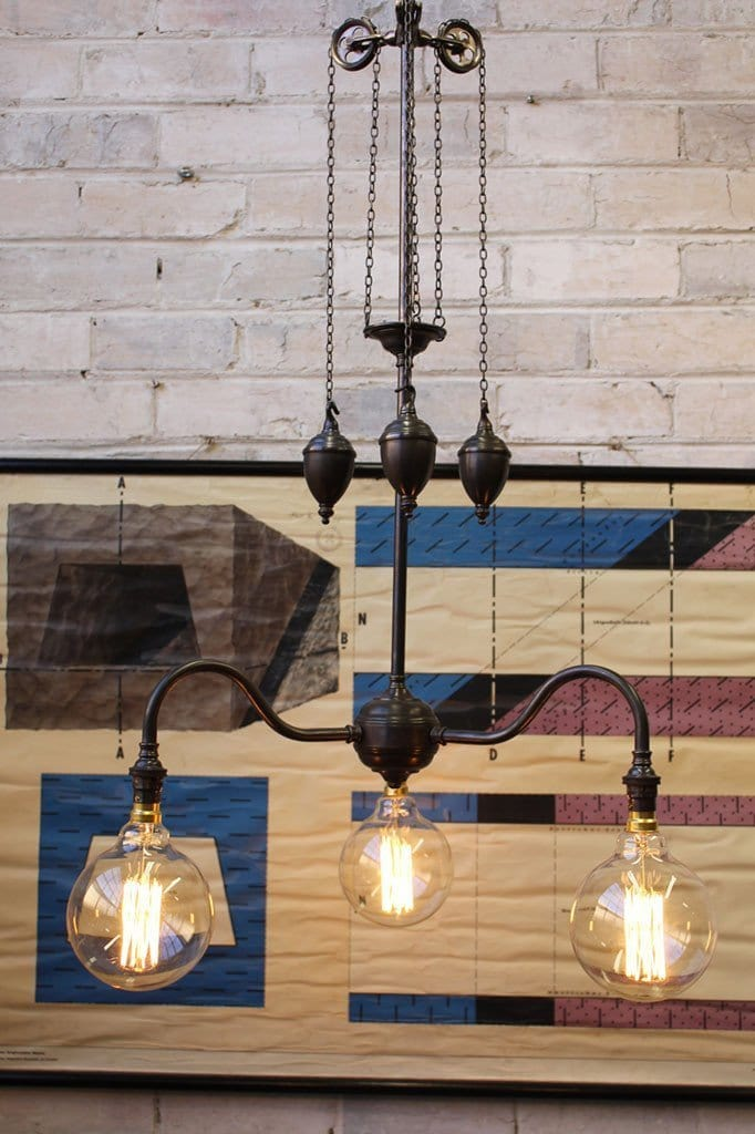 Gooseneck chandelier light made of quality brass with filament bulbs