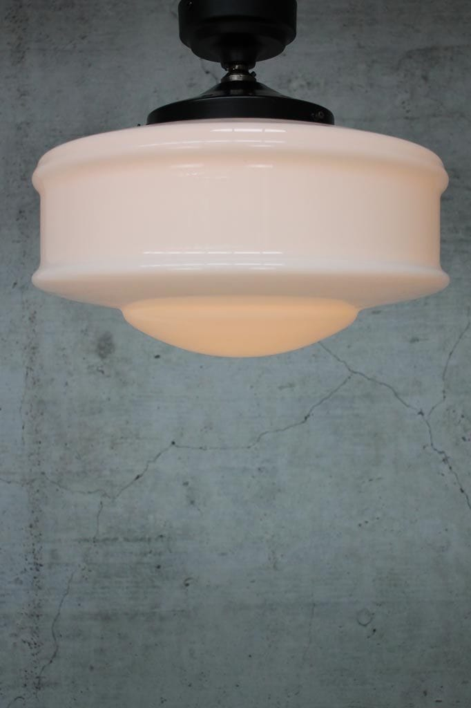 Schoolhouse ceiling light with opal shade