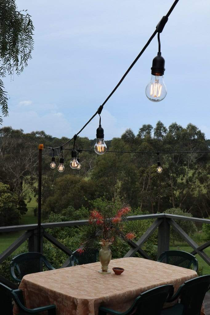 These Festoon lights have a IP44 outdoor weatherproof rating