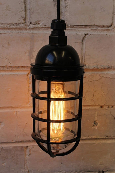 Hanging wall light bunker cage housing in black