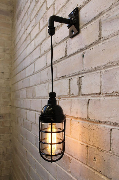Hanging wall light bunker cage with led bulb