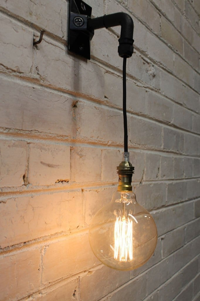 Hanging wall light with edison style filament bulb