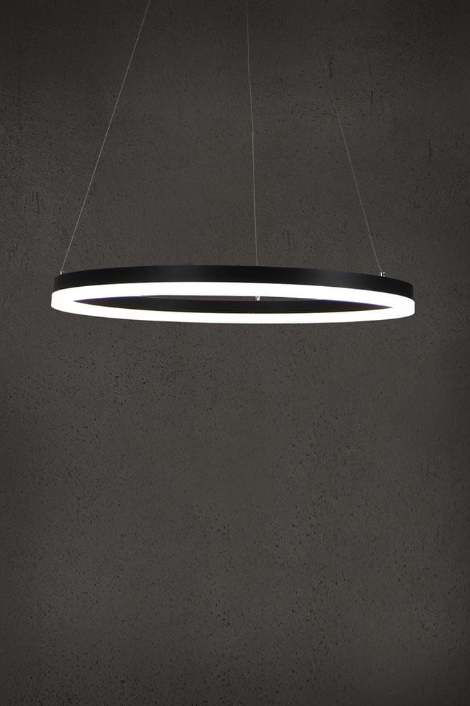 Hoop pendant light with built-in LED