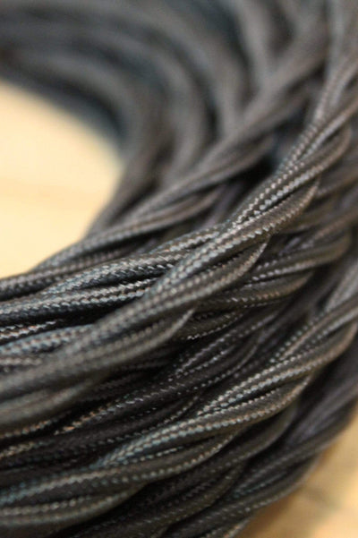 Black Twisted Braided Light Cord - 3 Core Insulated Cable
