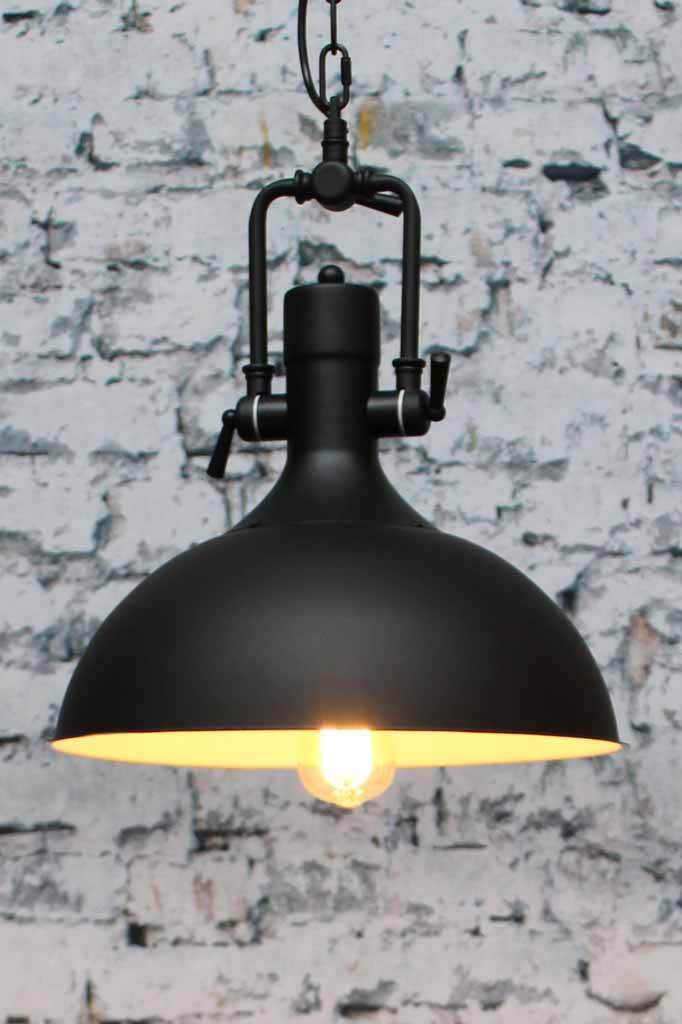 Industrial Dome Pendant Light In Black Or Brown Metal