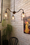Industrial gooseneck cage chandelier with black small cage shades