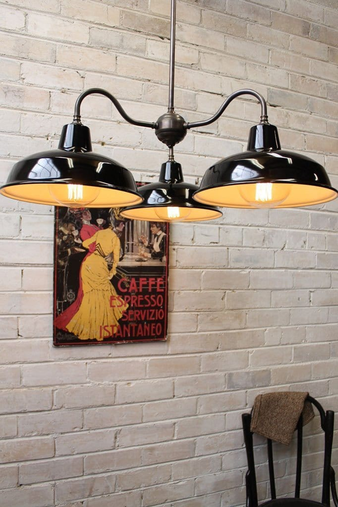 Industrial gooseneck warehouse chandelier black shade