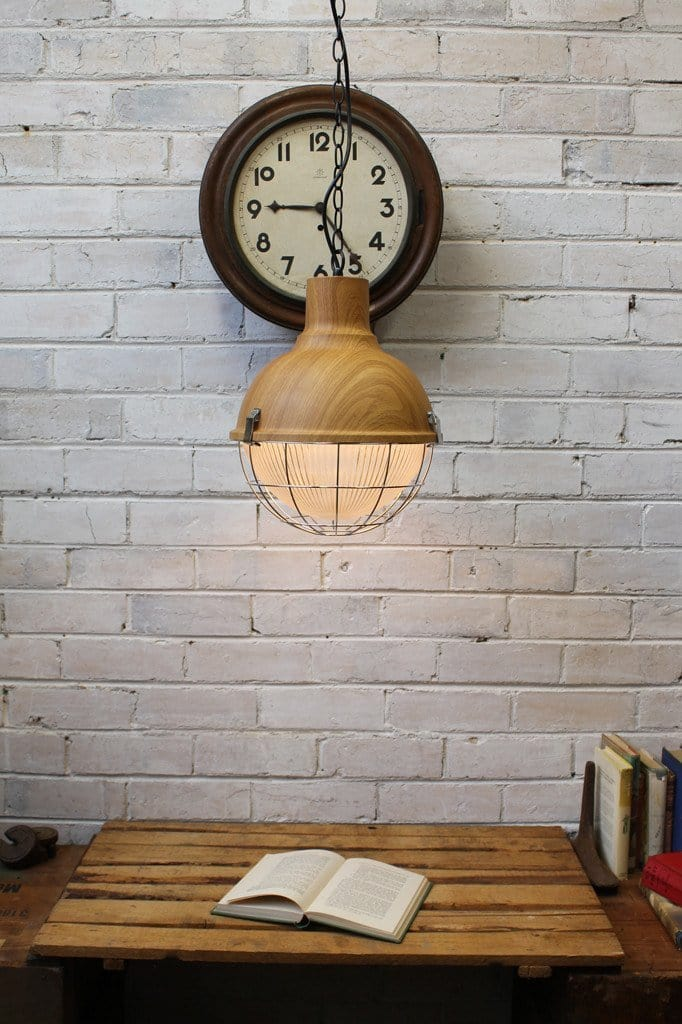 Industrial Scandinavian Pendant - Natural wood look finish