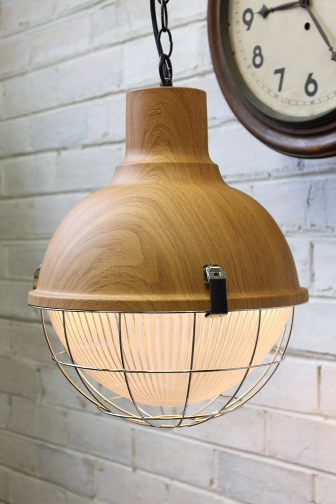 Industrial scandinavian pendant wood top finish