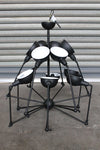 Industrial spider chandelier has a matt black body and white inner shades