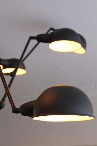 Industrial spider chandelier with matt black lamp shades