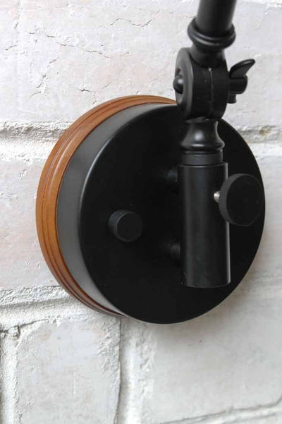 Industrial two arm light with wooden block sconce