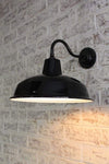 Industrial warehouse enamel shade with gooseneck wall light
