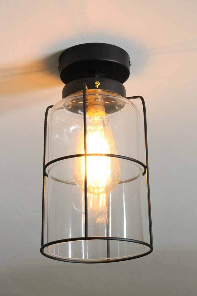 Cage jar ceiling light glass light flush mount lighting online industrial cage light aloadofball Gallery