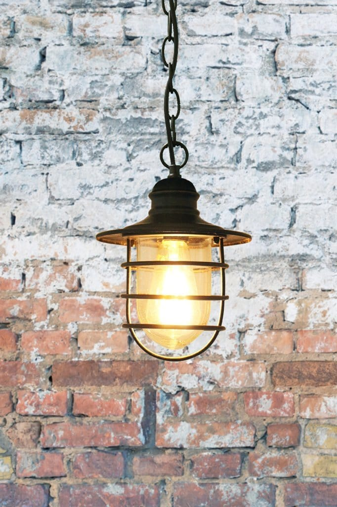 Industrial coastal pendant light. hanging chain light for beach house.