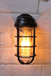 Industrial ocean liner wall light with edison bulb