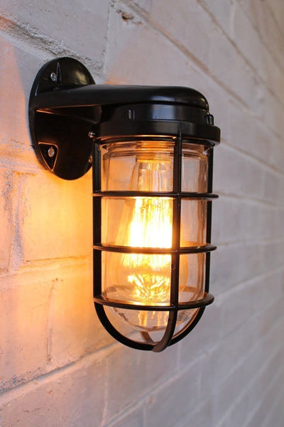 Industrial ocean liner wall with led bulb