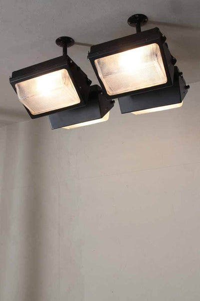 Industrial robust flush mount in black with glass covers