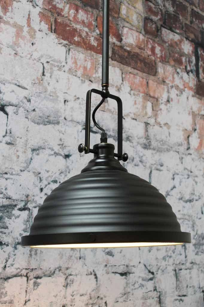 Industrial style ribbed dome pendant