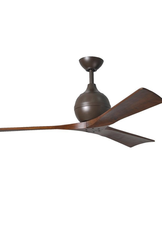 Irene 3 ceiling fan in bronzed nickel finish for motor housing and solid walnut stained wooden blades