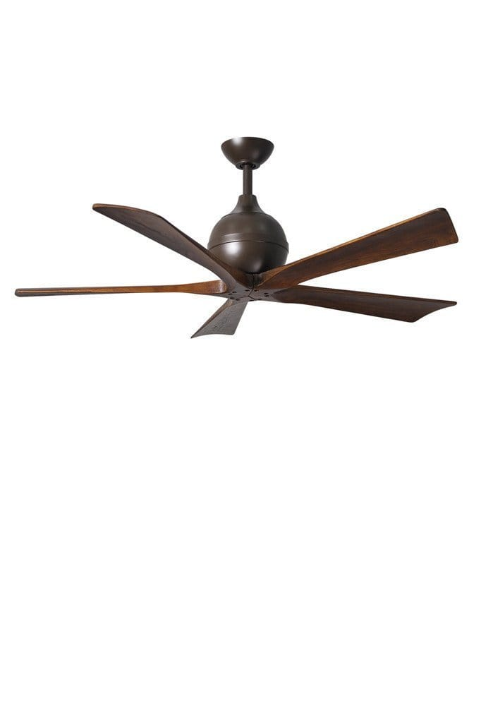 Irene 5 ceiling fan in textured bronze finish with five solid wood blades