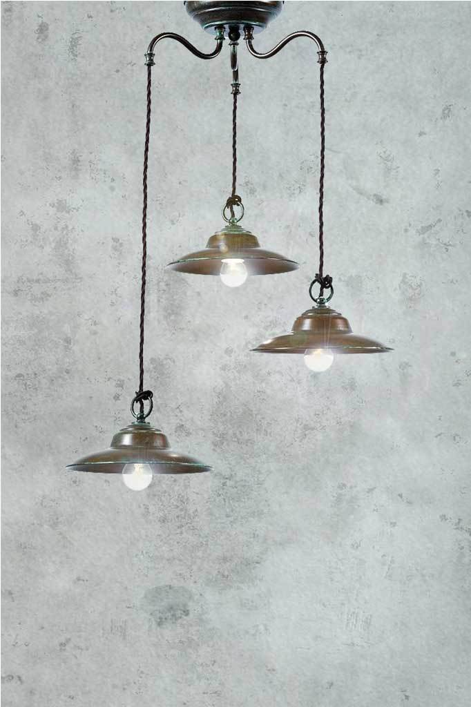Italian handmade brass chandelier 3 light pendant with preaged brass and cord suspension