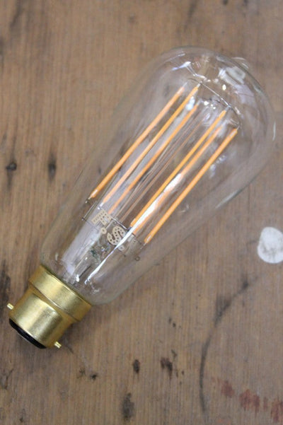 Led bulb dimmable edison long filament teardrop clear b22