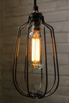 Led filament bulb tubular 6w 2100k in long cage pendant