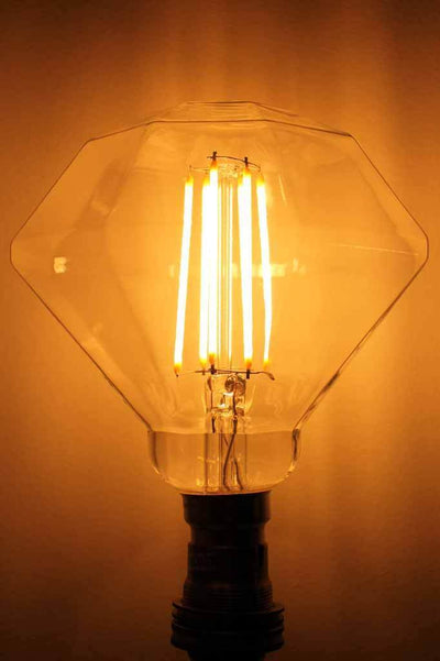 Led filament diamond light bulb. dimmable. designer globe. online Melbourne Sydney austalia