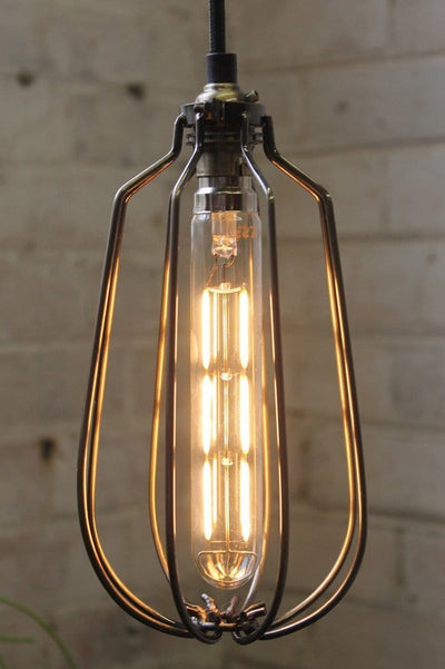 Led light globes 4w 2100k industrial style long tubular bulb in a long cage