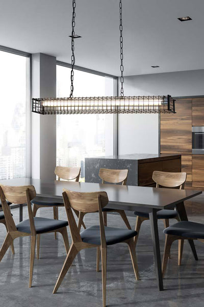 square linear light in dining room