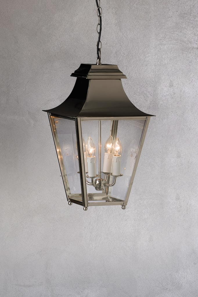 Lantern pendant light with bright nickel finish