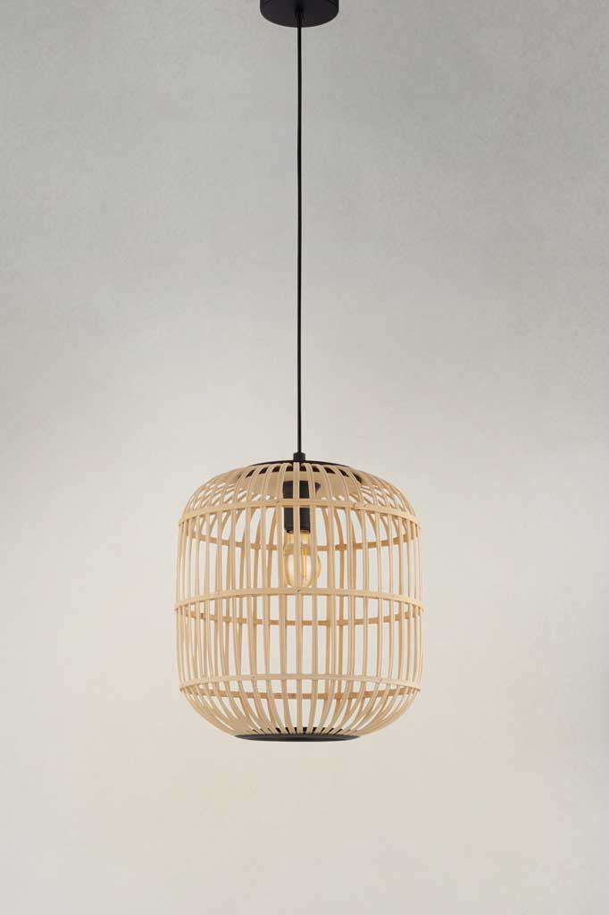 Large pendant light with cane shade