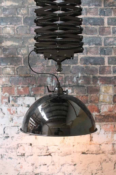 Large Industrial Scissor Light. Robust. Black pendant light online Australia. WIth edison bulb. For hanging over tables or in cafe lighting or bar fitouts