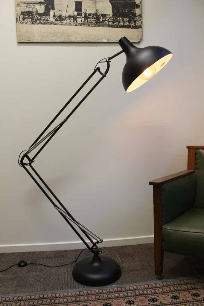 Large Metal Floor Lamp with adjustable arm. black metal floor lamp ideal for task lighting like reading or studying or for any corner of the room in home or appartment décor