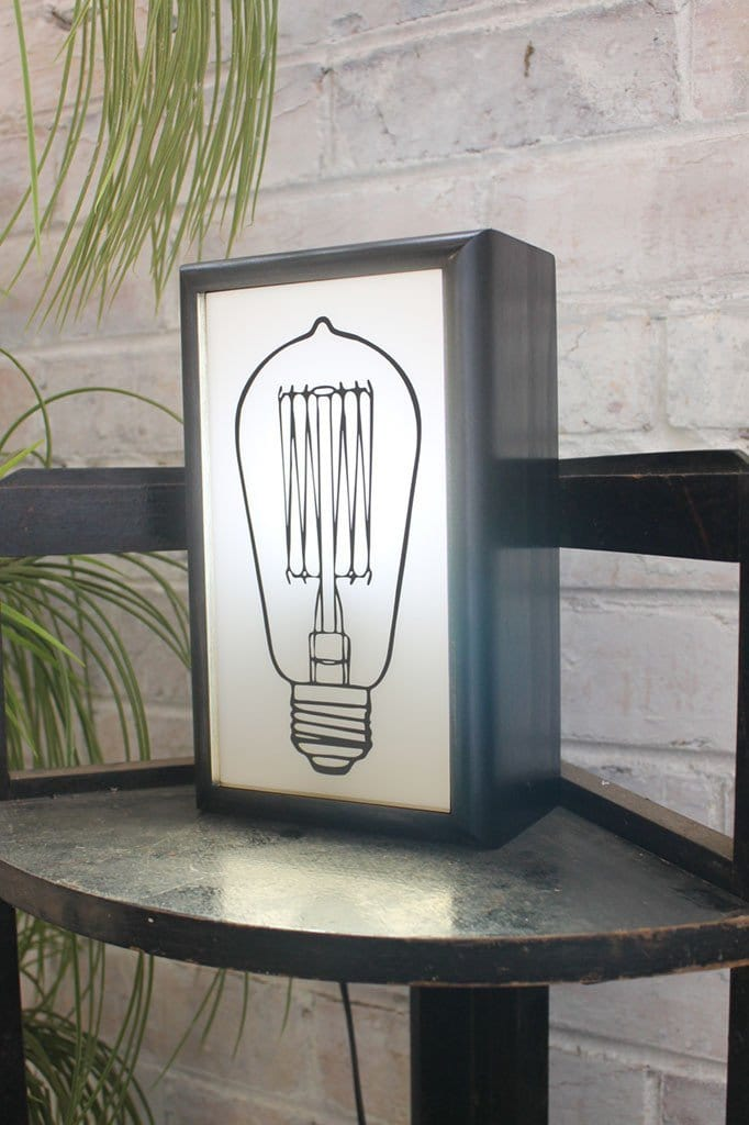 Lightboxes edison bulb graphic