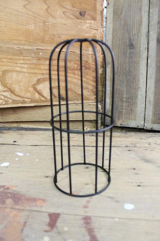 Long black cage pendant light 1