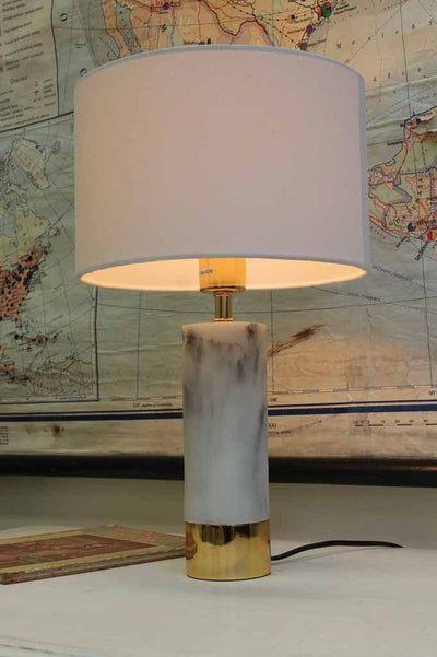 Marble table lamp with gold trim chic white marble base with white shade ideal for hampton style