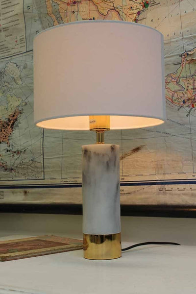 Marble Table Lamp with gold trim - chic white marble base with white shade ideal for hampton style 5764102f-fa0a-4e14-a76c-7000db957cc0