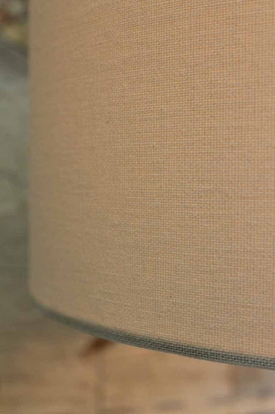 Marble table lamp with lamp shade made of linen material for a natural look