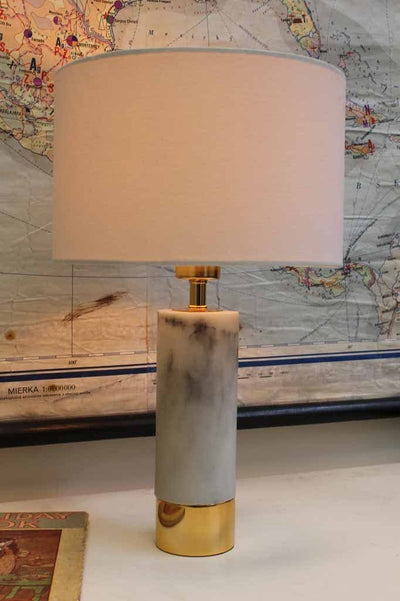 Marble table lamp with white shade and table base of marble and gold emblishment ideal for bedside tables or hallway table lamp