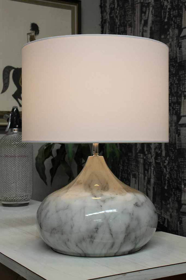 Mirren Table Lamp Marble Finish Base Fabric Shade Lighting
